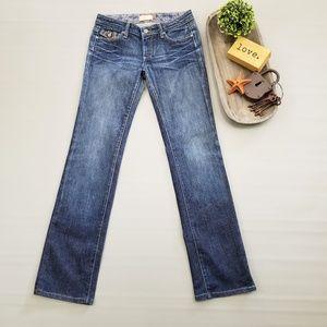 Paige Fairfax dark wash straight leg jeans